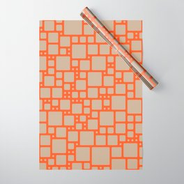 abstract cells pattern in orange and beige Wrapping Paper