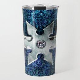 Ancient Lore Silver and Blue Travel Mug
