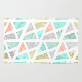 Modern geometrical abstract marble triangles pattern Rug