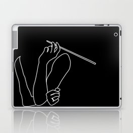 Minimal line drawing of Audrey Hepburn in the famous Breakfast at Tiffany's Laptop & iPad Skin