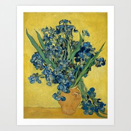 Still Life: Vase with Irises Against a Yellow Background Art Print