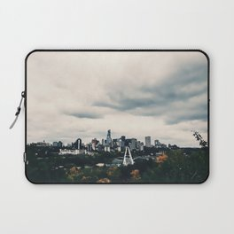 Edmonton Alberta, Digital Painting of a Very Cloudy Downtown just Before an Autumnal Storm Laptop Sleeve