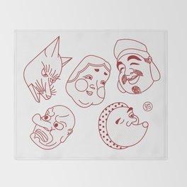 Japanese Masks Throw Blanket
