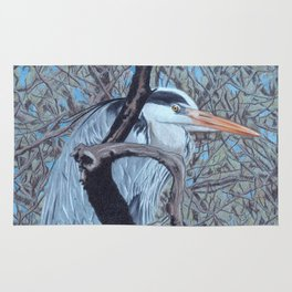 Grey Heron (Ardea Cinerea) Colored Pecncils Artwork Rug