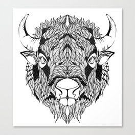 BISON head. psychedelic / zentangle style Canvas Print