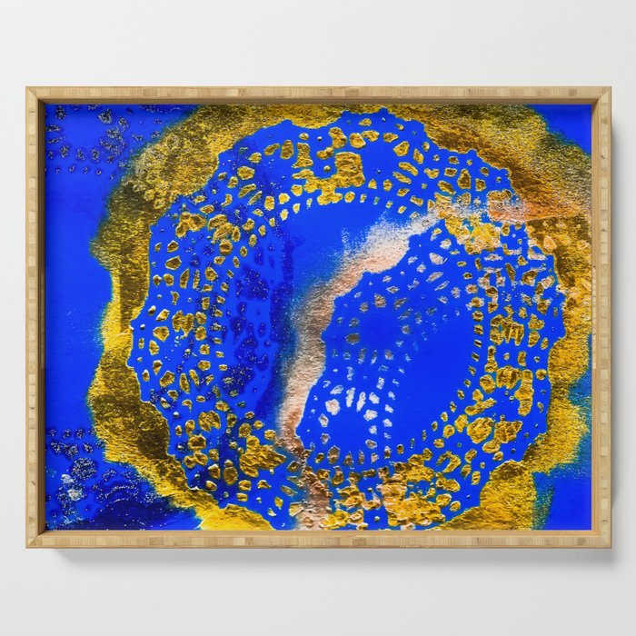 Royal Blue and Gold Abstract Lace Design Serving Tray