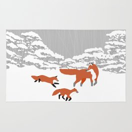 Foxes - Winter forest Rug