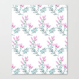 Pink and Green Watercolor  Floral Pattern Canvas Print