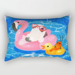 Cory cats in the swimming pool 2 Rectangular Pillow