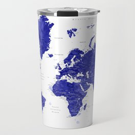 """Navy blue watercolor world map with cities, """"Ronnie"""" Travel Mug"""
