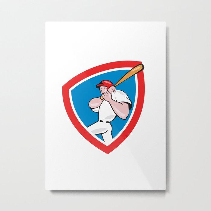 Baseball Player Batting Crest Red Cartoon Metal Print