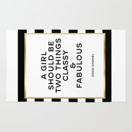 Classy and fabulous Printable art Inspirational print Fashion quote Fashionista Motivational quote Rug