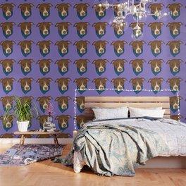 Pit Bull wearing Bandana Purple Wallpaper