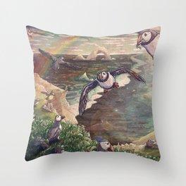 Cliffside Puffins Throw Pillow