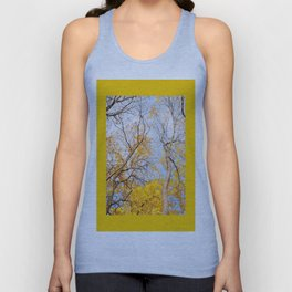 Yellow autumn leaves on trees in park Unisex Tank Top
