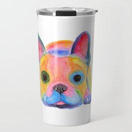 Nosey Dog French Bulldog ' AM I FRENCH ? ' by Shirley MacArthur Travel Mug