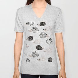 Hedgehog friends black and white spots Unisex V-Neck