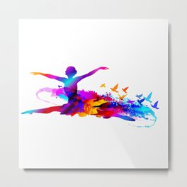 Colorful ballet dancer with flying birds Metal Print