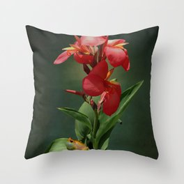 Canna Lily and Hourglass Tree Frog Throw Pillow