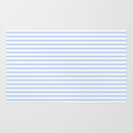 Mattress Ticking Narrow Horizontal Stripe in Pale Blue and White Rug