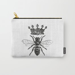 Queen Bee | Vintage Bee with Crown | Black and White | Carry-All Pouch