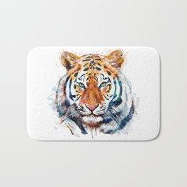 Tiger Head watercolor Bath Mat