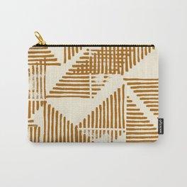 Stripe Triangle Block Print Geometric Pattern in Orange Carry-All Pouch