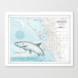 """Sarasota Florida """"Tarpon"""" Area road map Canvas Print"""