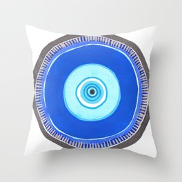 Blue and Silver Evil Eye Mandala Throw Pillow