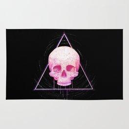 Skull in triangle on black Rug