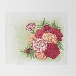 Full bloom   Ladybug carnation Throw Blanket