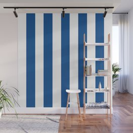 Yale Blue - solid color - white vertical lines pattern Wall Mural