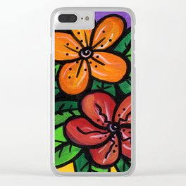 Whimsical Impatien Flowers Clear iPhone Case
