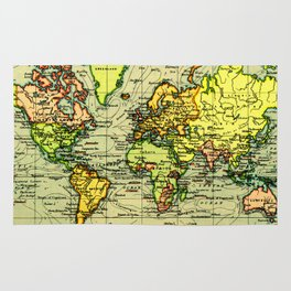 Vintage Map of The World (1899) - Stylized Rug