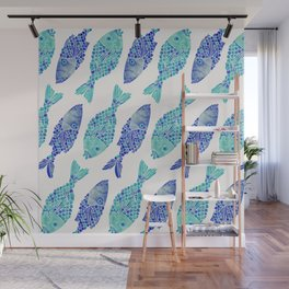 Indonesian Fish Duo – Navy & Turquoise Palette Wall Mural