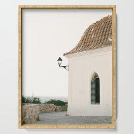 "Travel photography ""Ibiza white"" | Modern wall art Ibiza Spain coast white tones sunset Serving Tray"