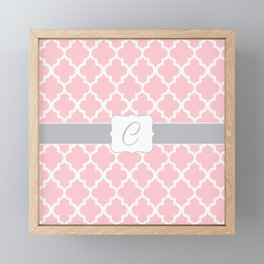 "Light Pink Moroccan Quatrefoil Pattern with ""C"" Monogram Framed Mini Art Print"