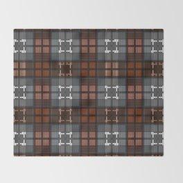 Dark black and blue plaid checkered Scandinavian design Throw Blanket
