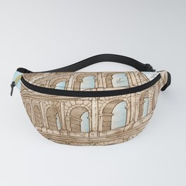 colosseum color hand draw background Fanny Pack