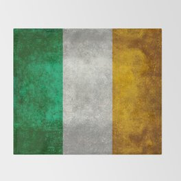 Republic of Ireland Flag, Vintage grungy Throw Blanket