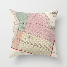 Vintage Map of Sacramento CA (1873) Throw Pillow