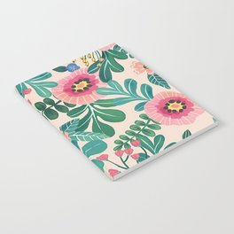 Colorful Tropical Vintage Flowers Abstract Notebook