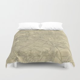 Vintage Map of Downtown Houston (1913) Duvet Cover