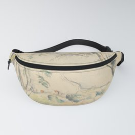 Mont Sainte-Victoire Seen beyond Wall Enhanced Vintage Watercolor Fanny Pack