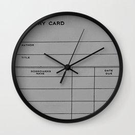 Library Card BSS 28 Gray Wall Clock