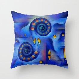 Grefenorium - blue spiral world Throw Pillow