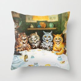 Kitty Happy Hour - Louis Wain's Cats Throw Pillow