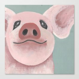 Original Painting - Farm Friends - Baby Pig - Cute Pig Painting Canvas Print