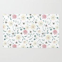 Floral Bee Print Rug