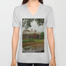 Morning At Monticello - Jeffersons Home Unisex V-Neck